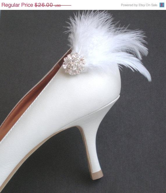 Wedding - ON SALE Marabou Feathered Bridal Shoe Clips.. Elegant Rhinestones