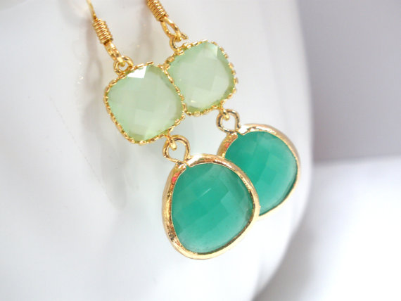 Wedding - Glass Earrings, Green Earrings, Gold Green Earrings, Mint Green, Wedding, Bridesmaid Earrings, Bridal Earrings Jewelry, Bridesmaid Gifts