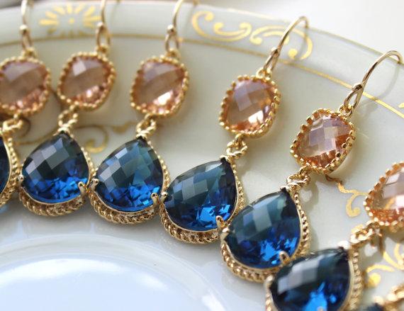 زفاف - 15% OFF SET OF 8 Wedding Jewelry Bridesmaid Earrings Jewelry Champagne Blush Earrings Sapphire Navy Blue Gold Teardrop Bridal Earrings