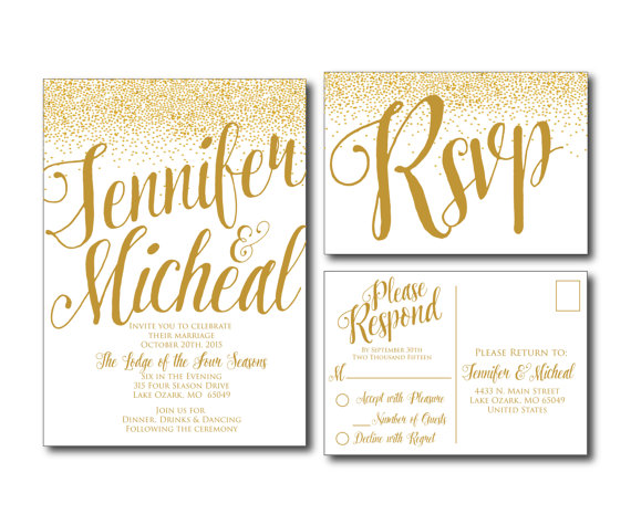 Gold Wedding Invitation Gold Sparkles Printable Wedding – Wedding Invitations with Rsvp Cards