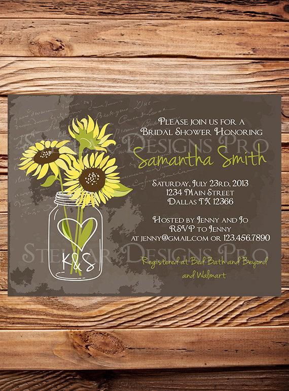 Mariage - Sunflowers Mason Jar Bridal Shower Invitation, Vintage Mason Jar Invitation, Brown, Mason Jar, Sunflower, Wedding Shower