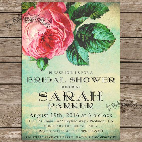Hochzeit - Vintage Bridal Shower Invitations Shabby Chic Roses in the Sky Nature Inspired Spring Wedding Rustic Garden Party No.433