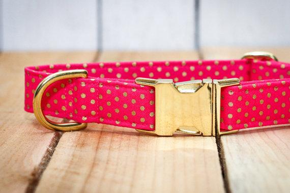 Свадьба - Pink Polka Dot Dog Collar, Pink & Gold Polka Dots, Metallic Gold, Female, Girl, Wedding Dog Collar
