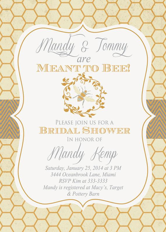 Wedding - Vintage Look Bumblebee Meant to Bee Bridal Shower Invitation - Printable