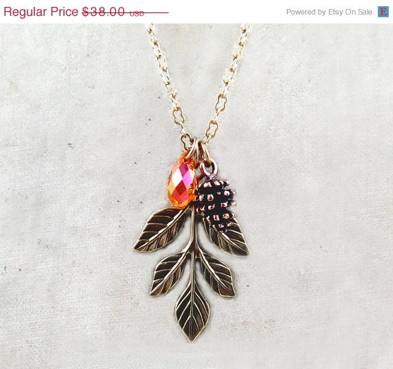 Mariage - SUMMER SALE Pinecone Necklace Nature Jewelry Spring Wedding Crystal Necklace April Birthstone Leaf Necklace Bridesmaid Gift