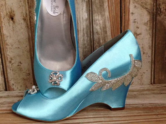 Свадьба - Something Blue Tiffany Blue Bridal Wedge Open Toe Wedding Shoe Mother Of The Bride Open Toe Elegant Wedge