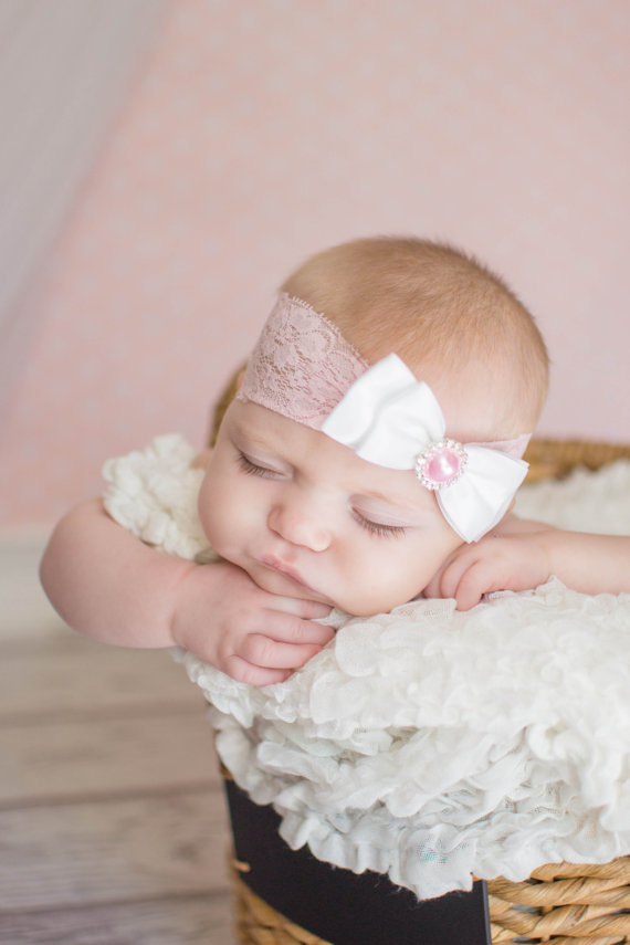 Lace And Satin Bow Baby Headband bc93c24810d