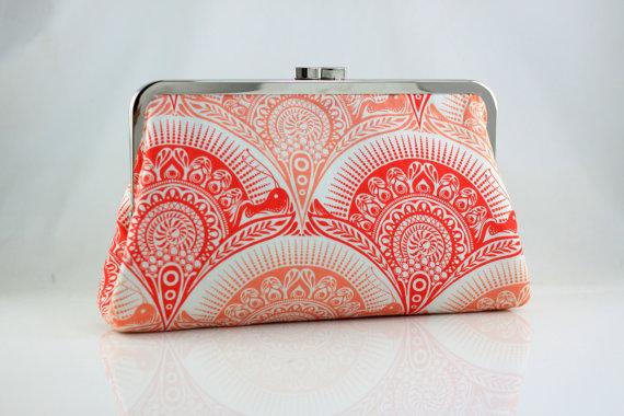 Свадьба - Coral Symmetrical Pattern Bridesmaid Clutch / Wedding Gift / Wedding Purse - the Christine Style Clutch