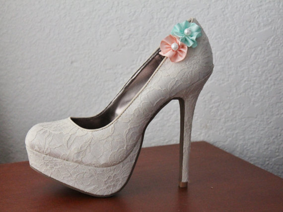 Свадьба - Peach and Mint Satin Flower Shoe Clips - 1 Pair