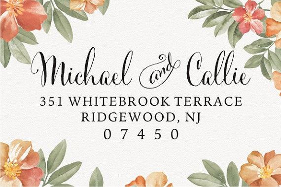 Hochzeit - Return Address Stamp - Personalized Custom Wood or Self-Inking Wedding Stamp - design 036