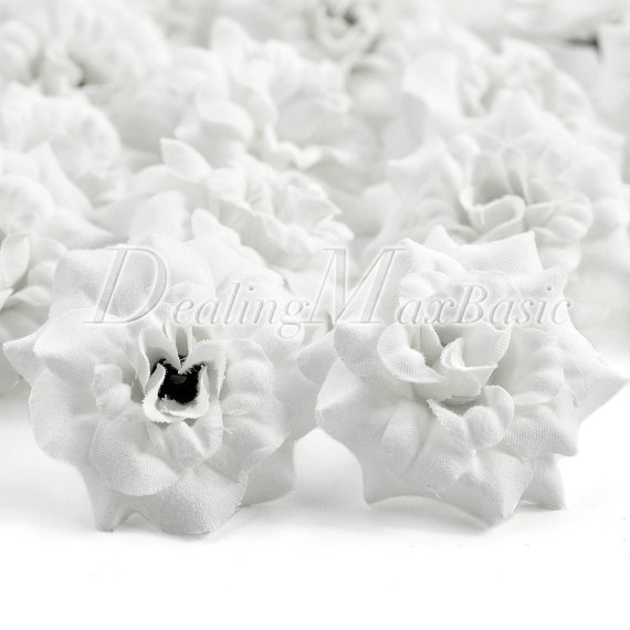 Mariage - 50pcs White 50mm Artificial Silk Rose Flower Heads For Clips Bridal Wedding Party Home Decor HS0001-7