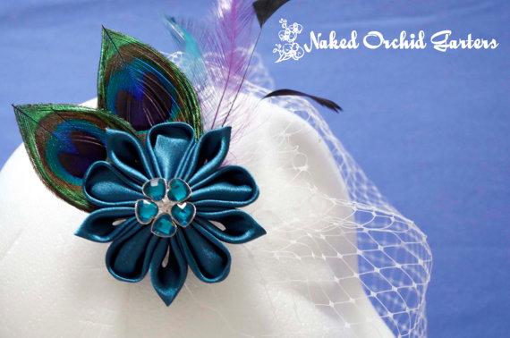 Mariage - Peacock Hair Clip Wedding Fascinator, Teal Kanzashi Bridal Hair Clip, BIRDCAGE VEIL, Headpiece, Teal Hair Piece, Teal Wedding Hair Flower
