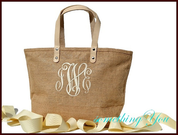 Personalized Bridesmaid Tote Jute Bag Natural Burlap Wedding Monogrammed With Leather Handles Gift