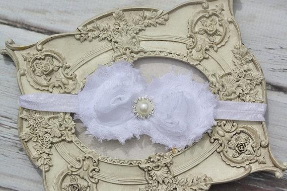 Wedding - White Headband Pearl Rhinestone - Photo Prop - Newborn Infant Baby Toddler Girls Wedding-Jamie Powell Designs-