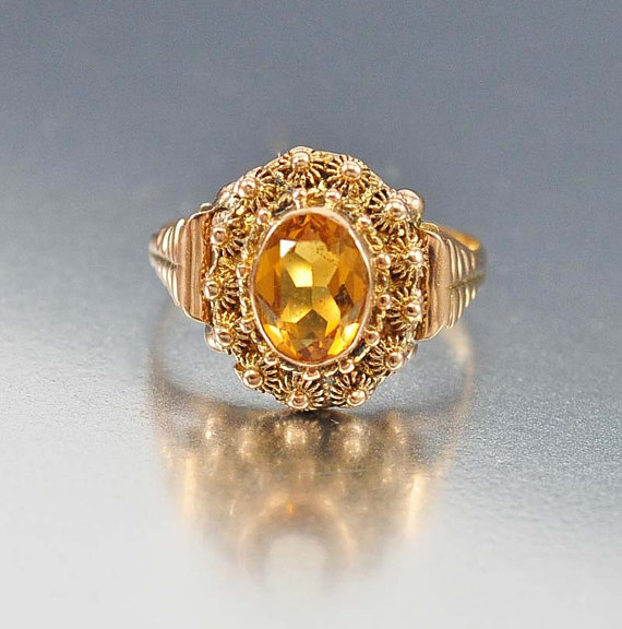Mariage - Victorian Gold Citrine Ring, Antique 14K Rose Gold Ring, Unique Engagement Ring, Cannetille Wire Wrap Ring, European Antique Jewelry