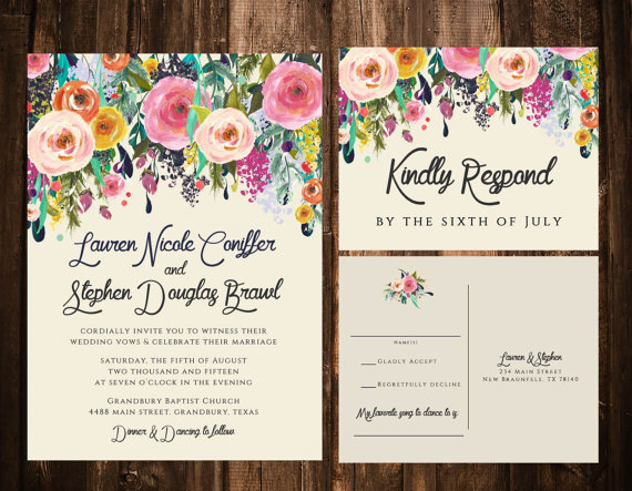 زفاف - Bold Bohemian Floral Wedding Invitation Set