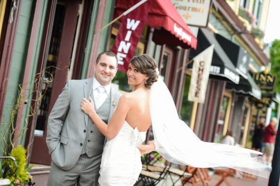 Mariage - Single layer Waltz wedding veil white, diamond or ivory