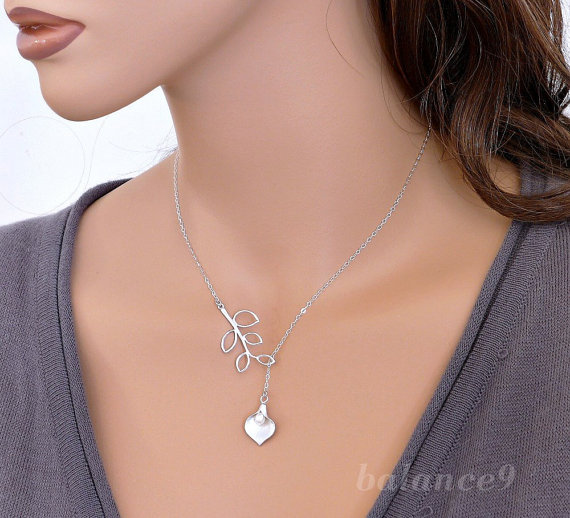 Mariage - Calla Lily Necklace, Sterling Silver Chain, flower branch charm Lariat, delicate holidays gift, bridesmaid wedding jewelry, by balance9