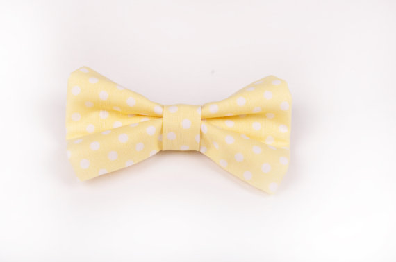 Wedding - Yellow Polka Dot Bow Tie - Baby Toddler Child Boys -Wedding - photo prop