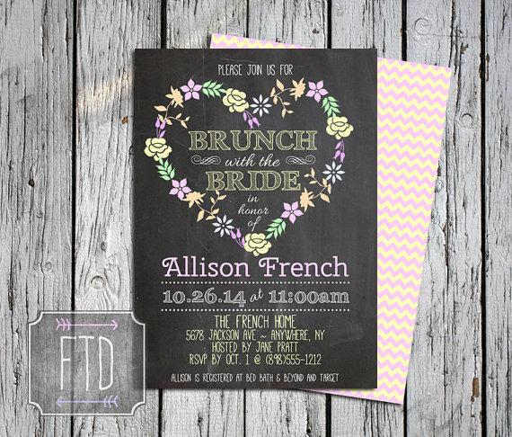 Wedding - Chalkboard Brunch with the Bride Invitation, Personalized Vintage Bridal Brunch Invite, Printable, Custom Digital File, Floral Heart