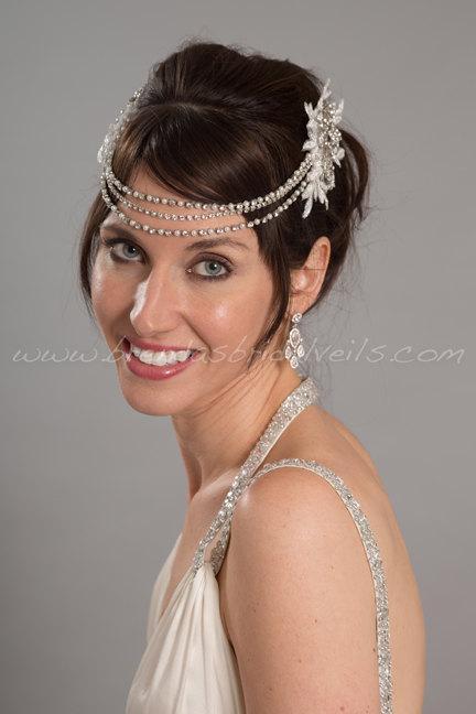 Hochzeit - Bridal Pearl and Rhinestone Headband, Bohemian Headpiece, Bridal Halo, Crystal Wedding Headband - Joni