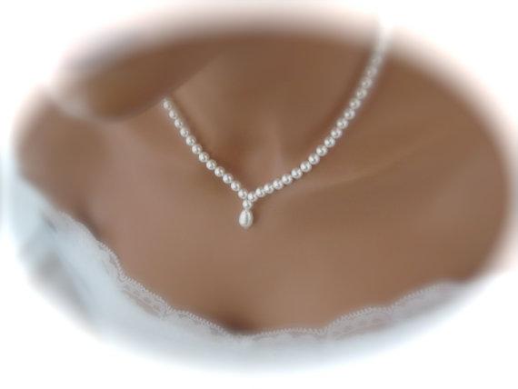 Mariage - Wedding jewelry set bridal necklace pearl earrings bridal jewelry Set Swarovski Pearl Bridal Set Pearl Jewelry Set