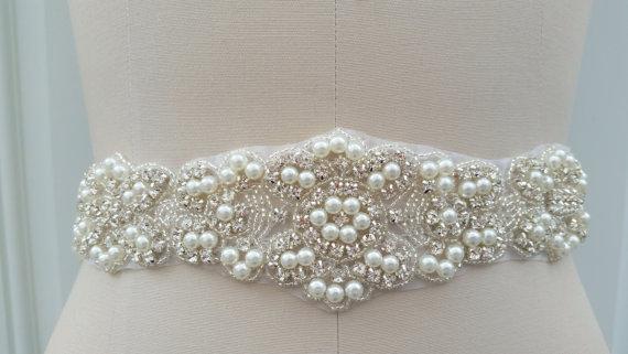Свадьба - SALE -22 INCHES Beaded portion - Wedding Belt, Bridal Belt, Sash Belt, Crystal Rhinestones & Pearls - Style B29978L
