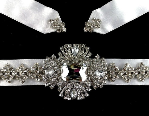 Mariage - Art Deco Bridal Sash, Rhinestone Crystal Dress Jewelry, 1920s Style Wedding Gown Belt, ELLE