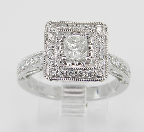 14K White Gold Princess Cut Square Diamond Halo Engagement Ring Size 6