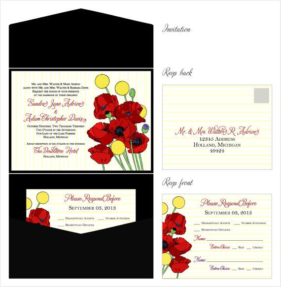Red Poppie & Yellow Billy Button Wedding Invitations