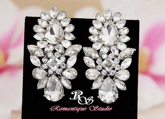 Mariage - Crystal cluster bridal earrings vintage style wedding earrings wedding jewelry accessories stud earrings marquise teardrop crystals 1270