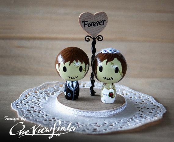 زفاف - Customise Wedding Cake Topper with Heart Message - zombie. monster, creature, halloween