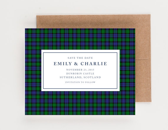 Wedding - Blue and Green Tartan Save The Date, Scottish and Irish Wedding, Wedding Announcement