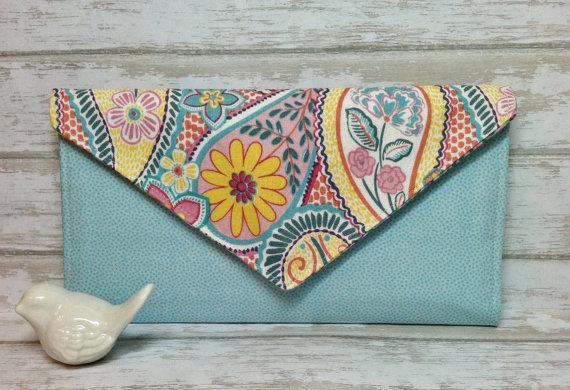 Mariage - Floral Clutch Wallet, womens wallet, Bifold wallet, slim wallet, fabric handmade wallet, credit card wallet, wedding clutch, clutches