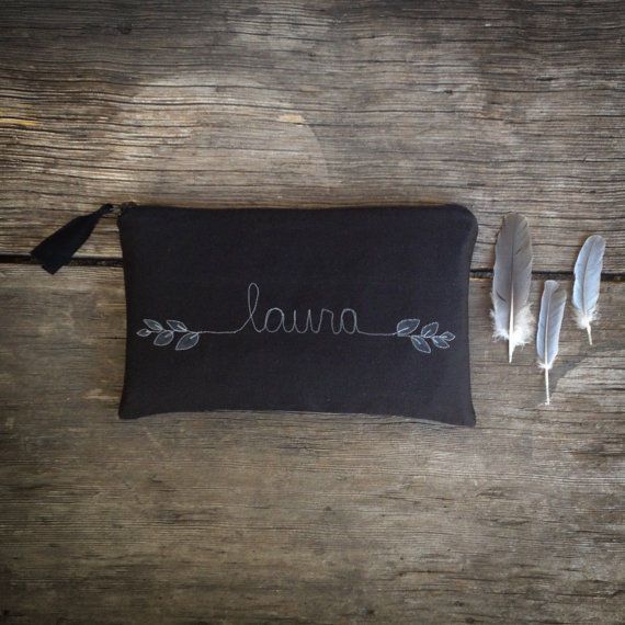 Mariage - Black Personalized Wedding Clutch, Bridesmaid Gift, Black and White Wedding, Simple Modern Style, MADE TO ORDER by MamaBleuDesigns