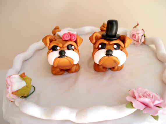 Bulldog Wedding Cake Toppers Bride And Groom Keepsake Anniversary Topper
