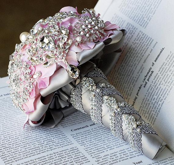 Mariage - Luxury Vintage Bridal Brooch Bouquet - Pearl Rhinestone Crystal - Silver Light Blush Pink Grey - BB018LX