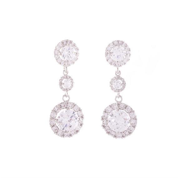 Mariage - Wedding Earrings, Crystal Earrings, Cz Bridal Earrings, Bridesmaid Earrings , Dangle Earrings, Bridal Jewelry