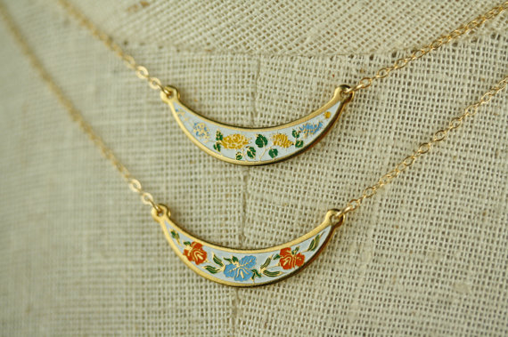 Свадьба - Vintage Bib Necklace with Yellow and Blue Flowers, Small Enamel Necklace Cloisonne Jewelry, Boho Necklace, Yellow Jewelry Wedding