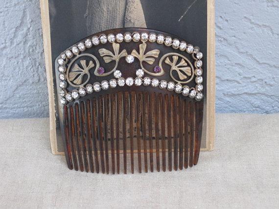 Mariage - Gibson Girl Rhinestone Hair Comb...Stylish Ginko Leaf...Wedding...Bridal...Titanic