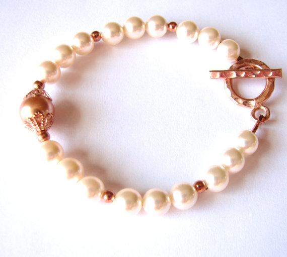 Mariage - Swarovski Pearl Bracelet, Rose Gold & Cream Rose Pearl Bracelet, Rose Gold Filled Bracelet, Small Dainty Bracelet, Blush Bridal Bracelet