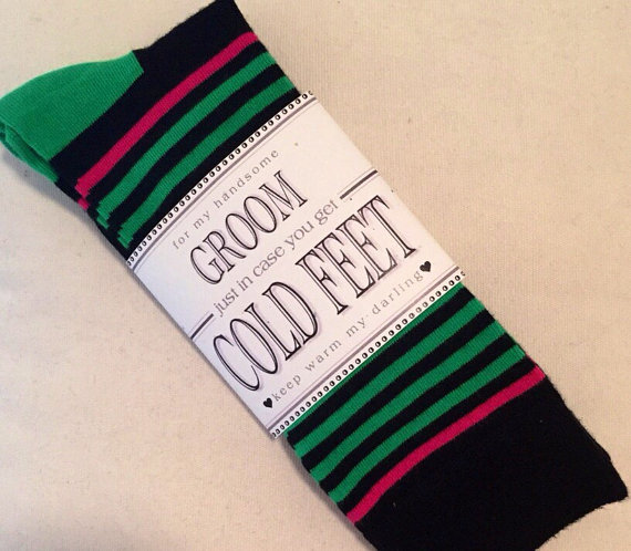 """Mariage - Fabulous Groom's Wedding Gift From Bride """"Happy Socks"""" Black/Green/Pink & Label """"Just In Case You Get Cold Feet""""! + Optional """"I Do"""" Stickers"""