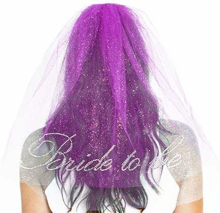 Wedding - Bachelorette Veil :  Rhinestone Cursive Bride To Be Sparkle Tulle Veil, Double Layer,  Purple Bachelorette Veil