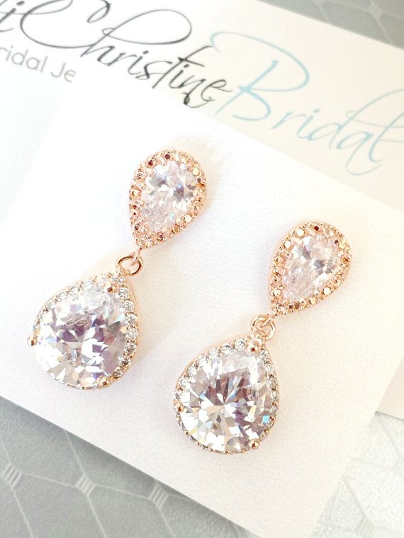 Mariage - Rose Gold Bridal Earrings CZ Cubic Zirconia Wedding earrings, Clear Teardrop, Pink Gold E100C