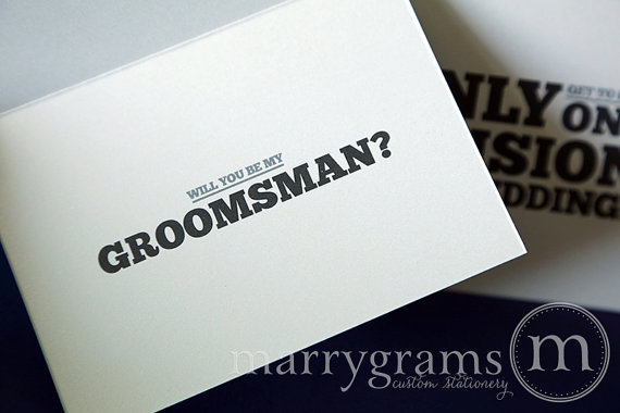 Свадьба - Fun Be My Groomsman Card, Best Man, Usher, Ring Bearer Wedding Party - Manly Will You Be My Card - Way to Ask Groomsmen Cards (Set of 4)