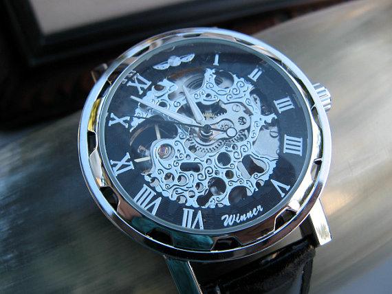 Hochzeit - Classy Steampunk Mechanical Wrist Watch with Black Leather Wristband - Men - Groom - Groomsmen - Watch - Item MWA69