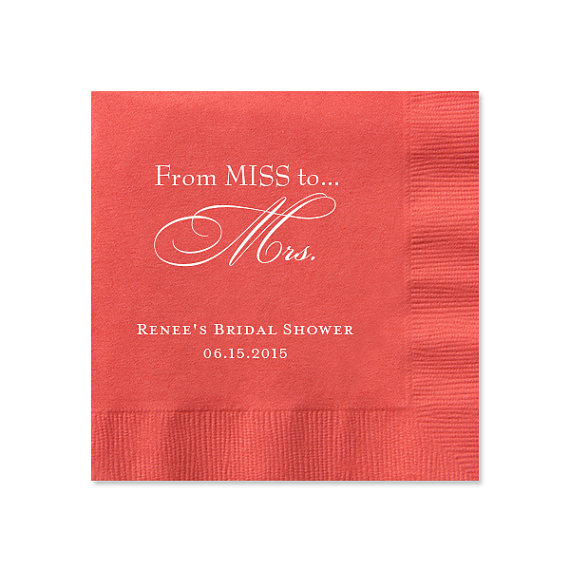 100 personalized napkins bridal shower from miss to mrs for Printed wedding napkins