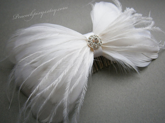 Свадьба - White, Wedding, hair, accessory, weddings, Bridal, Fascinator, Feather, Feathered,  Accessory, Ivory, Facinator, Accessories - BRIDAL BOW