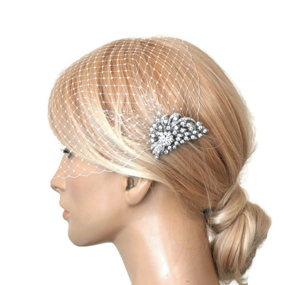 Mariage - BIRDCAGE VEIL ,bridal comb, ,bridal veil wedding, Bridal Hair comb,,bridal head piece,bridal hair accessorieswith