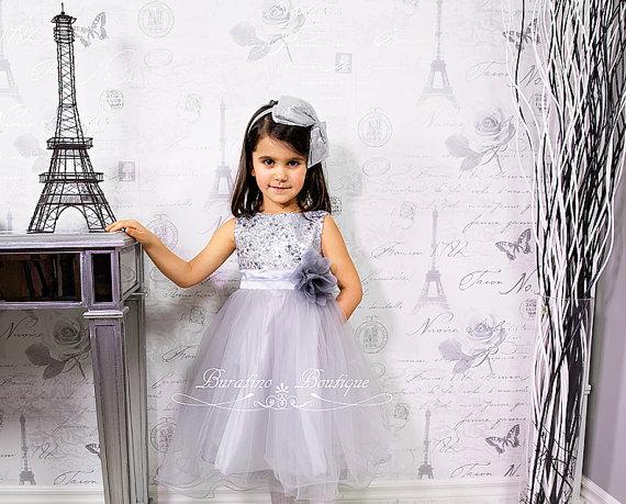Свадьба - Flower Girl Dress Silver Sequin Dress, Special Occasion dress, Wedding Dress Size 2T- 14 (ets0155sv)